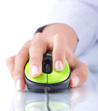 Hand using mouse. Close-up of female hand using mouse Stock Images
