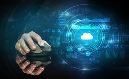 Hand using mouse with cloud technology concept royalty free illustration