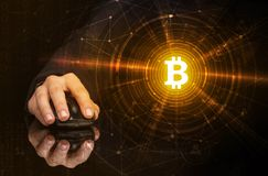 Hand using mouse with cryptocurrency concept royalty free illustration