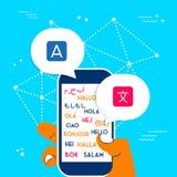 Hand using phone translation app for social media. International translation communication concept illustration. Person hand using phone for translating app Stock Photography