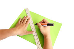 Hand using ruler and marker Stock Images