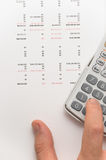 Hand using scientific calculator Royalty Free Stock Photography