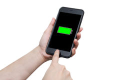 Hand using smart phone with full battery sign Stock Image