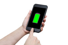 Hand using smart phone with full battery sign Stock Photo