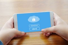 Free Hand Using Smart Phone With Cloud Data Storage Password Login On Royalty Free Stock Images - 116850639