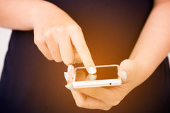 Hand using smartphone Stock Photos