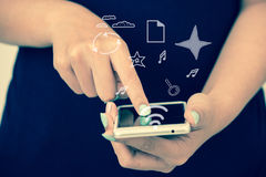 Hand using smartphone Royalty Free Stock Photo