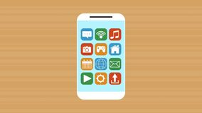 Hand using smartphone with menu applications animation. Illustration design stock video footage