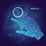 Hand using smartphone with money fintech concept. Vector illustration design Stock Images