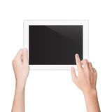 Hand using tablet isolated white clipping path Stock Photos