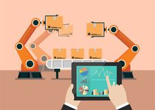 Hand using tablet to control automation robot arm machine Stock Image