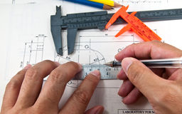 Hand using tools create a technical drawings Stock Photo