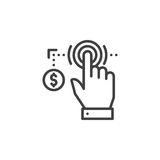 Hand using touch screen and coin line icon, outline vector sign, linear pictogram isolated on white. stock illustration