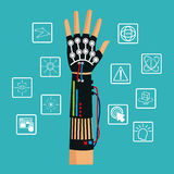 Hand using wired glove vr cyber technology Stock Images