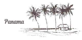 Hand utdragna Palm Beach Den Panama ön med strandhuset, skissar vektorillustrationen royaltyfri illustrationer
