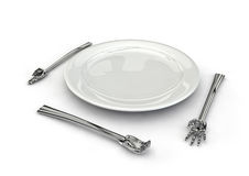 Hand utensils. Hands forming knife, fork and spoon around plate Royalty Free Stock Photography