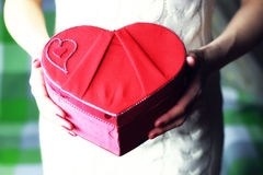 Hand valentine heart box royalty free stock photos