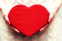 Hand valentine heart box Royalty Free Stock Image