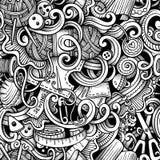 Hand van beeldverhaal hand-drawn krabbels - gemaakt, naaiend naadloos patroon Royalty-vrije Stock Fotografie