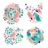 Hand van de de collagesamenstelling van de waterverfillustratie schilderde de abstracte vastgestelde decoratieve de vlekkenstrepe vector illustratie