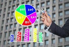 Hand van de grafiek van de zakenmantekening een hoogste punt het groeien grafiek t Royalty-vrije Stock Fotografie