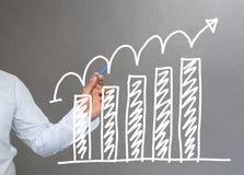 Hand van de grafiek van de zakenmantekening een hoogste punt het groeien grafiek t Stock Fotografie