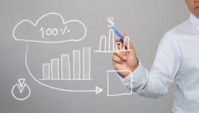 Hand van de grafiek van de zakenmantekening een hoogste punt het groeien grafiek t Stock Afbeelding