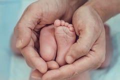 Hand van de de holdingsmens ` s van de benen de pasgeboren baby Royalty-vrije Stock Afbeeldingen