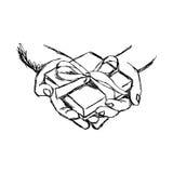 Hand van de illustratie de vectordiekrabbel van schetshand wordt getrokken van persoon g Stock Foto's