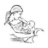 Hand van de illustratie is wordt getrokken de vectordiekrabbel van schetsmoeder borst stock illustratie