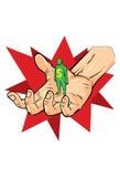 Hand van de mens van de economieholding met schuld Stock Fotografie
