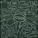 Hand van de de Pictogrammenschets van de keukengereedschap de Traditionele Krabbel - gemaakte Ontwerpvector royalty-vrije illustratie