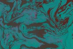 Hand van de Suminagashi de marmeren die textuur met cyaan wordt geschilderd stock afbeelding
