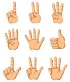 Hand van de vinger één tot negen Stock Afbeeldingen