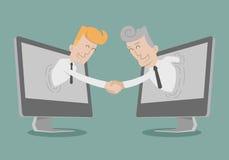 Hand van de zakenmanschok, Online Zaken die, de online op de markt brengen Stock Foto