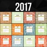 Hand van de Zentangle de kleurrijke die kalender 2017 in de stijl van bloemenpatronen en krabbel wordt geschilderd Stock Foto