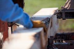 Hand van een mens die een boomboomstam leiden door een molen royalty-vrije stock foto's