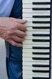 Hand van een mens die de harmonika spelen Stock Afbeelding