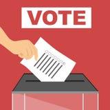 Hand van een persoon die een stemming gieten bij een opiniepeilingspost stock illustratie