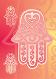 Hand van Fatima met oog Stock Foto