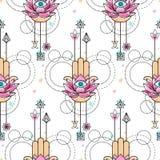 Hand van Fatima Watercolor Seamless Pattern Royalty-vrije Stock Afbeeldingen
