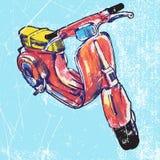Hand van geïsoleerde rode uitstekende autoped wordt getrokken die Vector illustratie Stock Illustratie