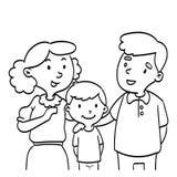 Hand van Gelukkige Familie wordt getrokken - de illustratie die van de lijntekening vector illustratie