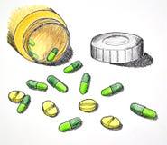 Hand van geneeskundepillen en tablet die wordt getrokken Stock Foto