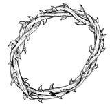 Hand van getrokken die Thorn Crown-Vector wordt getrokken stock illustratie