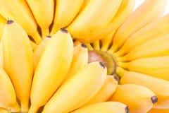 Hand van Gouden bananen op wit geïsoleerd fruitvoedsel het achtergrond gezond van Pisang Mas Banana Stock Afbeeldingen