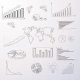 Hand van het Diagraminfographic van grafiek trekt de Vastgestelde Financiën Royalty-vrije Stock Fotografie