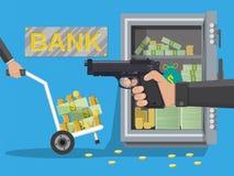 Hand van het pistool van de diefholding in bank stock illustratie