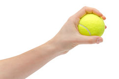 Hand van jonge het tennisbal van de meisjesholding Royalty-vrije Stock Foto
