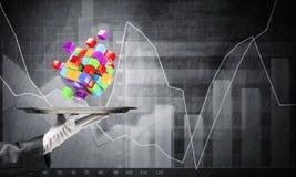 Hand van kelner die kubussen op dienblad voorstellen Stock Afbeelding